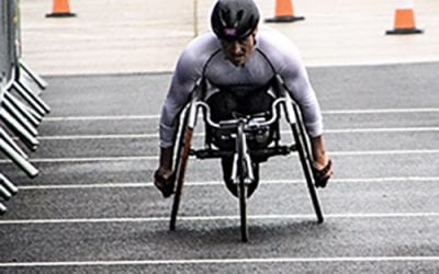 Josh Landmann Competes in the ITU World Cup para-triathlon!
